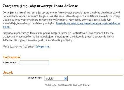 Rejestracja AdSense