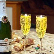 świece żelowe - kieliszek z szampanem
