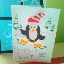 kartka bożonarodzeniowa z pingwinkiem