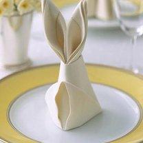 składanie serwetki - uszy królika