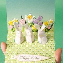kartka wielkanocna z wyskakującymi króliczkami