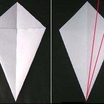 łabędź origami - krok 2.