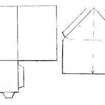 Dom z papieru parterowy w kształcie litery L  - wzór 1