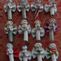 Aniołki - ozdoby z makaronu