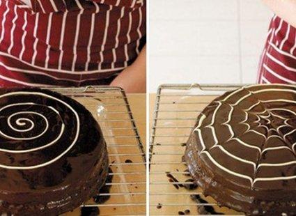 dekorowanie tortów - pajęczyna