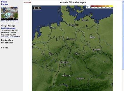 Wetter online - mapa burzowa