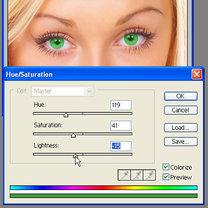dopasowanie koloru oczu Photoshop
