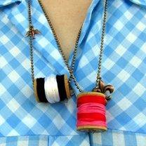 naszyjnik ze szpulki nici