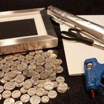 Materiały potrzebne do zrobienia ramki z monetami