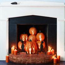 dekoracja kominka na Halloween