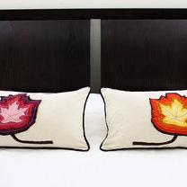poduszka z liściem z filcu