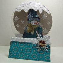 Kartka bożonarodzeniowa z kulą z śniegiem