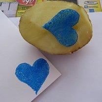 Stempel z ziemniaka - serce