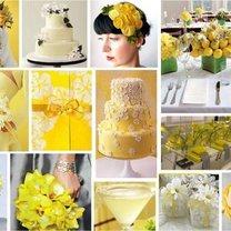 zółte, letnie dekoracje weselne