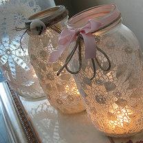Koronkowy lampion ze słoika