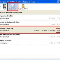 Blokowanie ciasteczek Firefox
