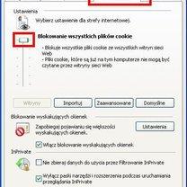 Blokowanie ciasteczek Internet Explorer