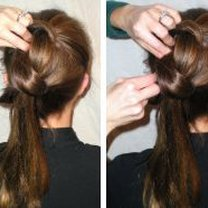Robienie koka z długich włosów 4