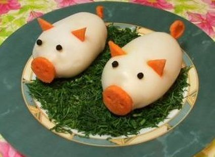 Jajka faszerowane dla dzieci - świnki