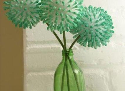 kwiatki z patyczków higienicznych