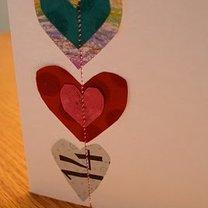 kartka na Walentynki z serduszkami