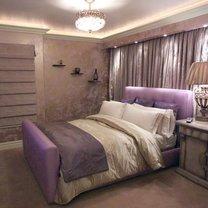 sypialnia w kolorze lawendy