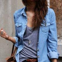 Jeansowa koszula - zestawy ubrań