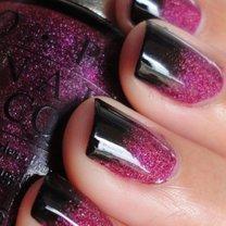 dwukolorowe paznokcie z brokatem