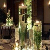 lampion z kwiatów i szkła
