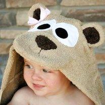 ręcznik dla dziecka z kapturkiem - miś