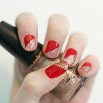 czerwono-złote paznokcie na święta