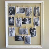 ramka ze zdjęciami na sznurkach
