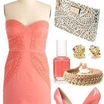 koralowa sukienka buty