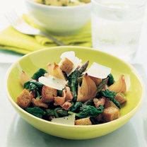 Sałatka z szynki, szpinaku i szparagów
