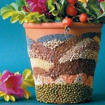 Doniczka ozdobiona nasionami