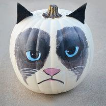dynia na halloween - kot grumpy
