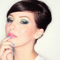 zielono-niebieski makijaż