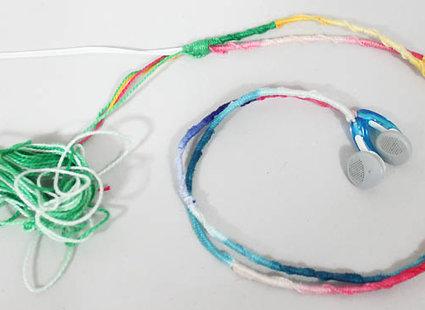 Zdjęcia z porady: Jak ozdobić kable od słuchawek muliną
