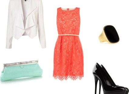 koralowa sukienka żakiet