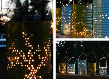 Lampiony ogrodowe z puszek