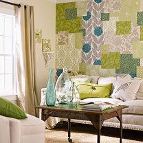 patchworkowa ściana z tapet