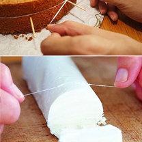 triki kuchenne - krojenie ciasta nitką dentystyczną