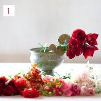 kompozycja kwiatowa ombre - krok 2
