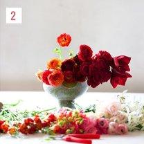 kompozycja kwiatowa ombre - krok 3