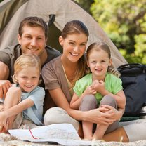 rodzina na biwaku