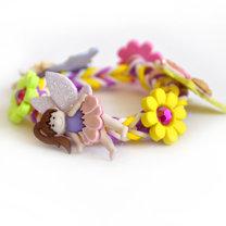 bransoletka z gumek z kwiatkami