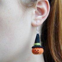 kolczyki na Halloween w kształcie dyni