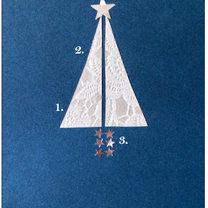kartka bożonarodzeniowa z choinką z koronki