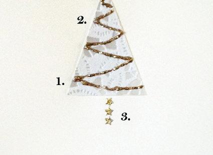 kartka bożonarodzeniowa z brokatową choinką