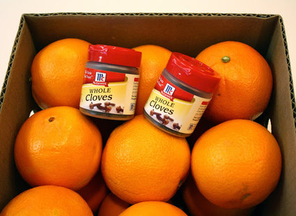pomarańcze ozdobione goździkami - krok 1